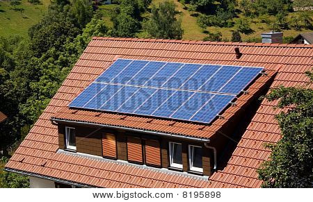 Solar panel on a roof ,  in the mountains