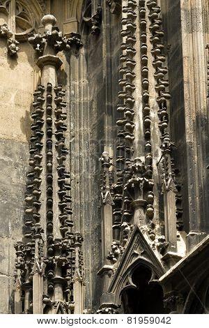 Gothic Element Of St. Stephen's Cathedral In Vienna, Austria