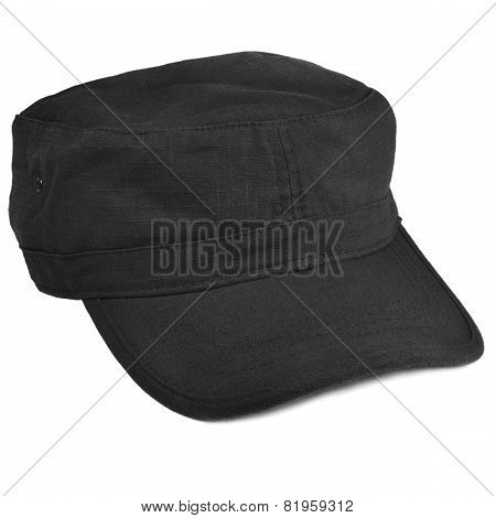 Field Patrol Cap Macro Closeup, Isolated Large Detailed Black Rip-stop Nyco Nylon Cotton Police Swat