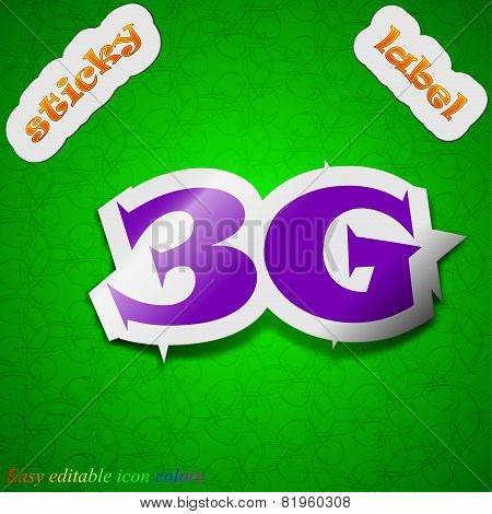 3G Technology Icon Sign. Symbol Chic Colored Sticky Label On Green Background. Vector