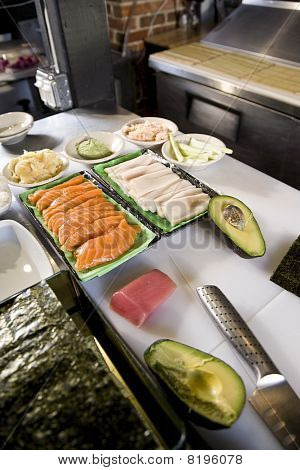 Raw Fish And Other Ingredients For Making Sushi