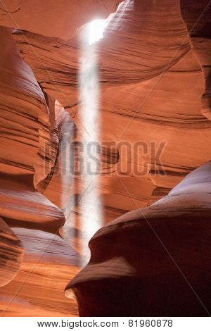 Fantastic And Most Photographed Antelope Canyon Seen With Rays Of Sunlight Coming From Ceiling.