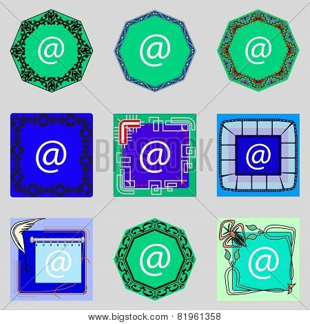 Commercial At Icon. Flat Modern Set Colourful Web Buttons. Vector