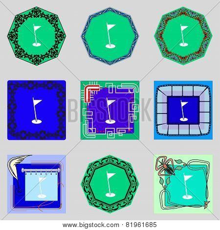 Flag Hole Sign Icon. Sport Symbol. Set Colour Buttons. Vector