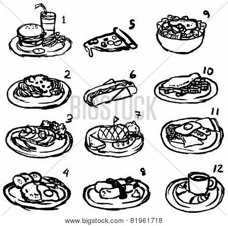 Rough Black And White Line Sketch Of International Food Icon Collection Set, Create By Vector