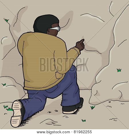 Man Poking Rock