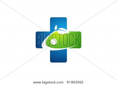 Medicine health icon,cross plant logo,plus nature symbol,healthy people