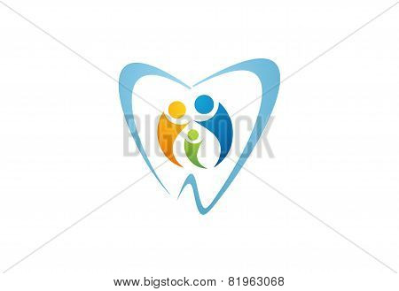 dental care logo,dentist illustration family health people nature symbol design vector