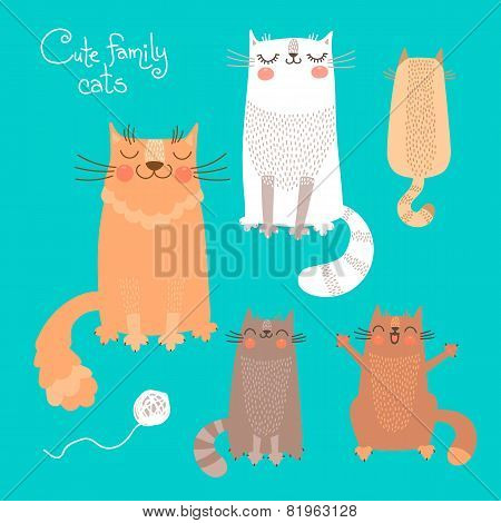 Cute set with cats and kittens.