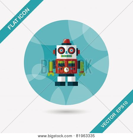 Vintage Robot Flat Icon With Long Shadow,eps 10