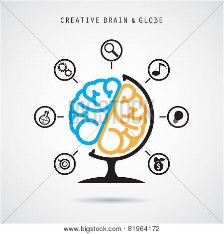 Creative Brain Abstract Vector Logo Design