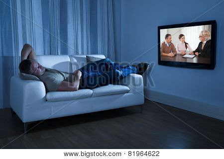 Man Watching Movie