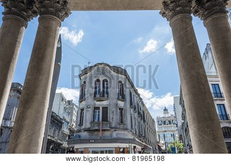 View Of The Old City From The Colonnade Of The Theater Solis, Montevideo, Uruguay