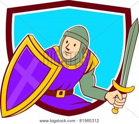 Medieval Knight Shield Sword Cartoon