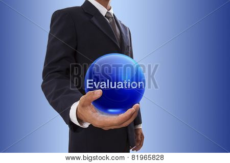 Businessman with evaluation word.
