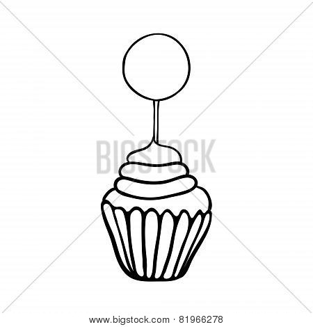 Cupcake sketch with round topper