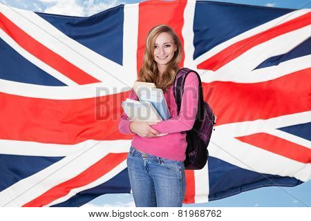 Happy College Student Against White Background