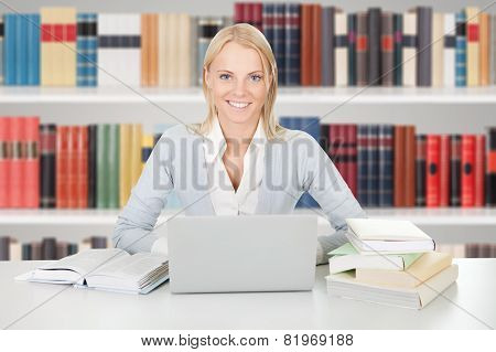 Beautiful Student Girl Studying With Laptop