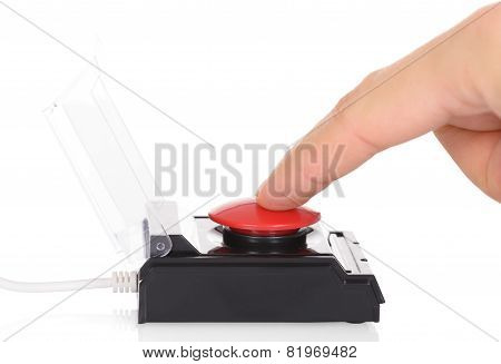 Finger Using Red Button