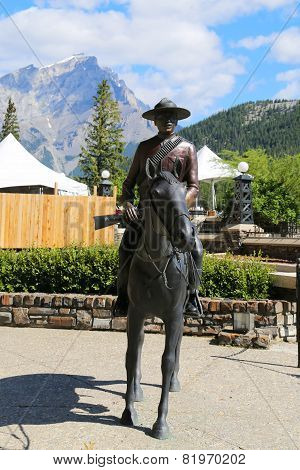 Statue Of An Royal Canadian Mounted Police Riding A Horse