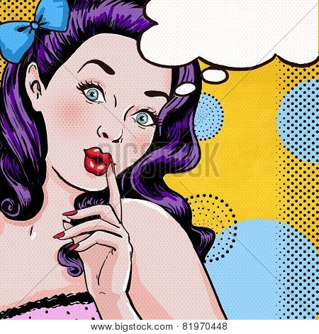 Pop Art illustration of woman with the speech bubble.Pop Art girl. Party invitation.