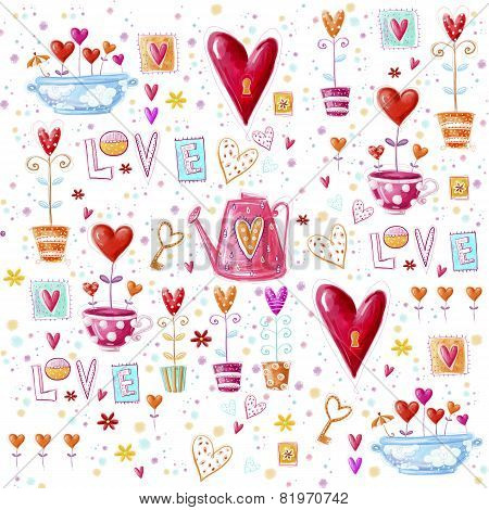 Love background made of red hearts, flowers.Seamless pattern can be used for wallpaper