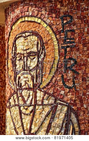 Mosaic Of Saint Peter Apostle On A Column