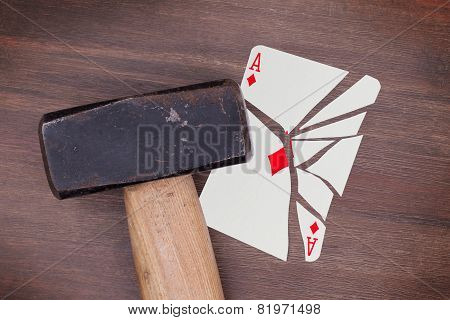 Hammer With A Broken Card, Ace Of Diamonds
