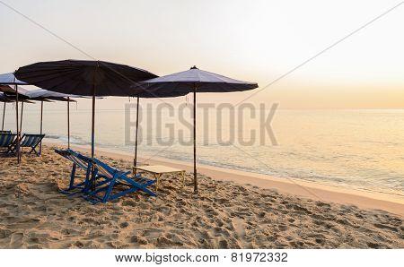 Colorful Beach Chairs At Cha-am Beach, Thailand