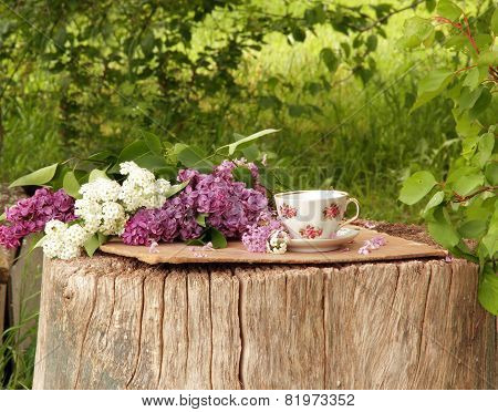 Cup And Lilac Bouquet On A Wooden Stub