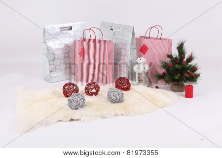 New Year's Gifts In Beautiful Packages, A Fur-tree, A Candle And A Small Lamp