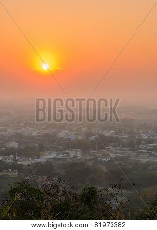 Aerial View Of Uthai Thani City, Thailand