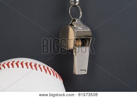 Blackboard With Baseball And Whistle
