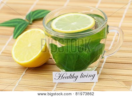 Healthy living card with mint tea and lemon