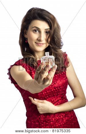 Woman Giving You Her Favorite Perfum Isolated Over White Background