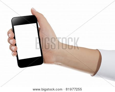 Holding Mobile Smart Phone In Female Hand