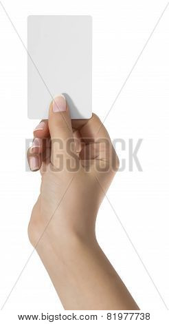 Blanc Play Card In Woman Hand On White