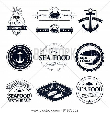 set of seafood logos. Crab lobster restaurant