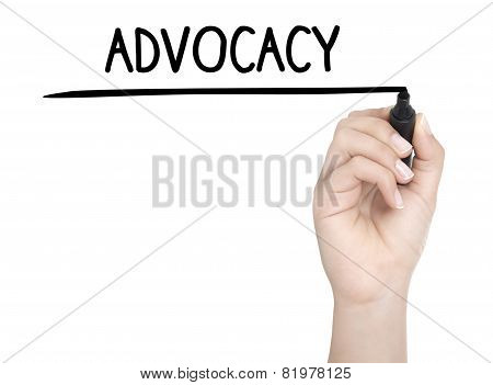 Hand With Pen Writing Advocacy On Whiteboard