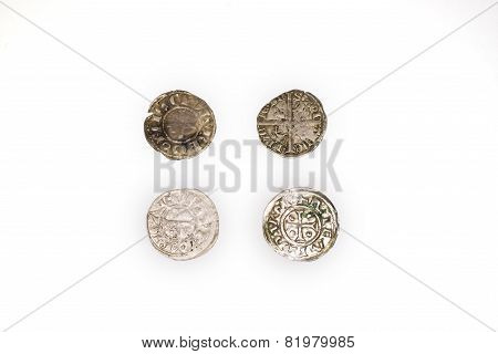 Vintage Silver Coins On A White Background