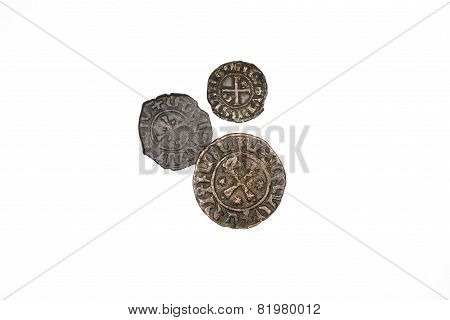Ancient Armenian Bronze Coins On White Background
