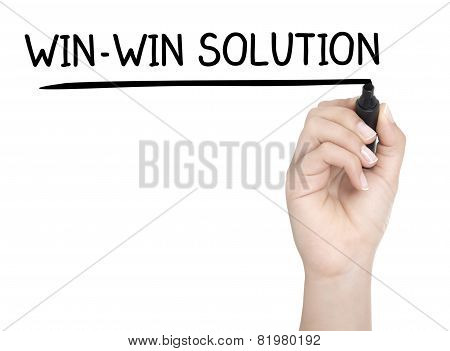 Hand With Pen Writing Win-win Solution On Whiteboard