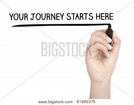 Hand With Pen Writing Your Journey Starts Here On Whiteboard