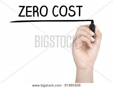 Hand With Pen Writing Zero Cost On Whiteboard