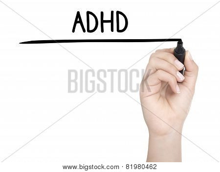 Hand With Pen Writing Adhd On Whiteboard