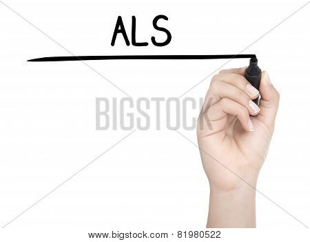 Hand With Pen Writing Als On Whiteboard