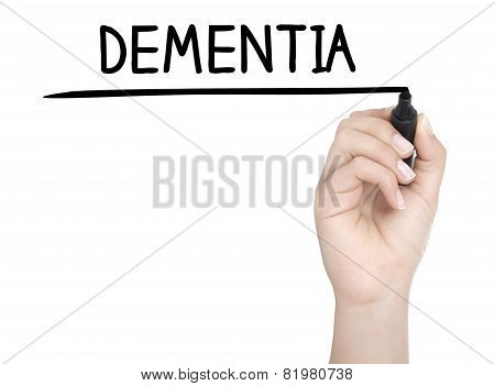 Hand With Pen Writing Dementia On Whiteboard