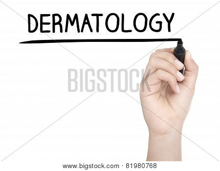 Hand With Pen Writing Dermatology On Whiteboard