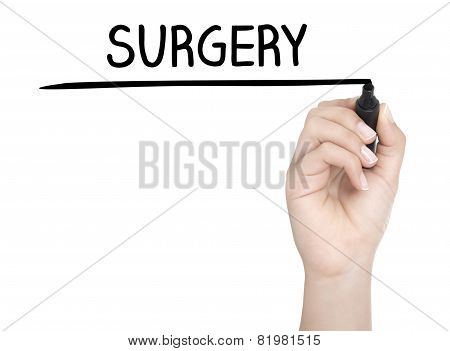 Hand With Pen Writing Surgery On Whiteboard