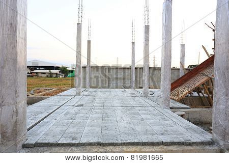 Concrete Floor Slab Panel In Building Construction Site